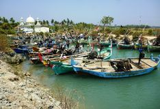 Traditional fishing boats. On a beach in mpu rancak on Jepara. Indonesia Royalty Free Stock Photography