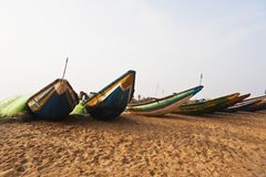 Traditional fishing boats on the beach, Puri, Orissa, India Royalty Free Stock Image