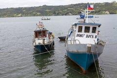 Traditional fishing boats at Dalcahue, Chile Royalty Free Stock Photo