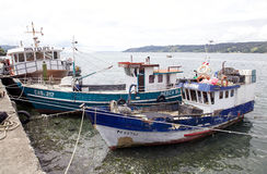 Traditional fishing boats at Dalcahue, Chile Stock Photos