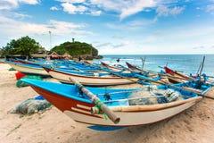 Traditional fishing boats on Drini beach on Java Royalty Free Stock Image