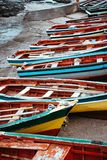 Traditional fishing boats in the fishing harbor. Ponta do Sol Santo Antao Cape Verde.  Stock Photo