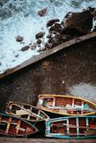 Traditional fishing boats in the harbor. View from above, view top-down. Ponta do Sol Santo Antao Cape Verde.  Royalty Free Stock Photo