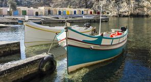 Boats at the Gozo Inland Sea. Traditional fishing boats at the Inland Sea of Gozo Royalty Free Stock Photo