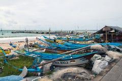 Traditional fishing boats at Jimbaran Beach Stock Photography