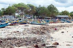 Traditional fishing boats at Jimbaran Beach Stock Photos