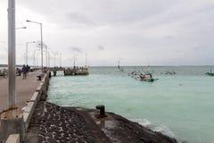 Traditional fishing boats at Jimbaran Beach Royalty Free Stock Image