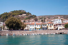 Traditional fishing boats in main port of Nafpaktos stock photo