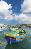 Traditional fishing boats marsaxlokk harbour malta Royalty Free Stock Images