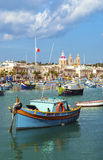 Traditional fishing boats marsaxlokk harbour malta Stock Image