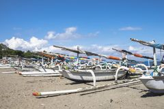 Traditional Fishing Boats Parking on the Senggigi Beach royalty free stock photo
