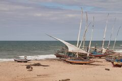 Free Traditional Fishing Boats . Praia Das Fontes Royalty Free Stock Photos - 203124518