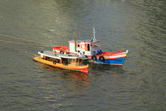 Traditional fishing boats on river Royalty Free Stock Photo