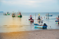 Traditional fishing boats in the sea. Stock Photo