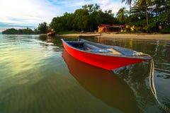 Free Traditional Fishing Boats With Coastal Fishing Village. Beautiful Scenery Morning Sunrise Over Sea In Labuan,Malaysia. Stock Image - 200023321