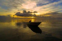Free Traditional Fishing Boats With Coastal Fishing Village. Beautiful Scenery Morning Sunrise Over Sea In Labuan,Malaysia. Royalty Free Stock Photos - 200023378