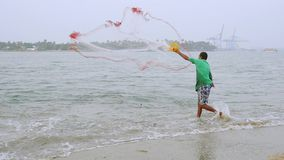 Traditional fishing in cochin, south india stock video
