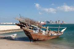 Traditional fishing dhow in Bahrain Stock Photo
