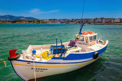 Traditional fishing Greek boat with fisherman Royalty Free Stock Image