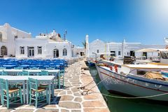 The traditional fishing harbour of Naousa on Paros island Royalty Free Stock Image