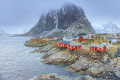 Traditional Fishing Hut Village in Hamnoy During Early Spring Time in Lofoten Islands Royalty Free Stock Photos
