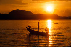 Traditional fishing long tailed boat in Koh Phitak island. Royalty Free Stock Photo