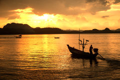 Traditional fishing long tailed boat in Koh Phitak island. Stock Photography