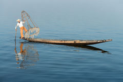 Traditional fishing by net in Burma Royalty Free Stock Images
