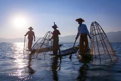 Traditional fishing by net in Burma Stock Photos