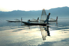 Traditional fishing by net in Inle Lake,Myanmar. Royalty Free Stock Image