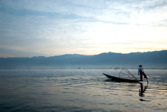 Traditional fishing by net in Inle Lake,Myanmar. Stock Photography