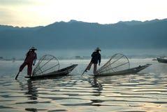 Traditional fishing by net in Inle Lake,Myanmar. Stock Image