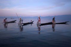 Traditional fishing by net in Inle Lake,Myanmar. Royalty Free Stock Photo