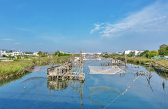 Traditional fishing nets, Old Fish trap in Ada Bojana Stock Image