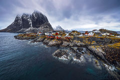 Traditional fishing settlements of Lofoten islands. Beautiful Norway landscape and old architecture. Stock Photos