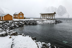 Traditional fishing settlements of Lofoten islands. Beautiful Norway landscape and old architecture. Royalty Free Stock Image