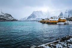Traditional fishing settlements of Lofoten islands. Beautiful Norway landscape and old architecture. Stock Image