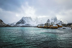 Traditional fishing settlements of Lofoten islands. Beautiful Norway landscape and old architecture. Stock Images