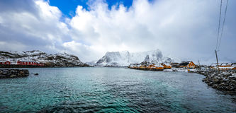 Traditional fishing settlements of Lofoten islands. Beautiful Norway landscape and old architecture. Stock Photo