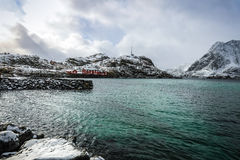 Traditional fishing settlements of Lofoten islands. Beautiful Norway landscape and old architecture. Stock Photography