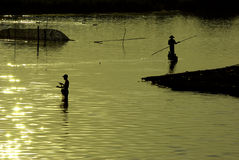 Traditional fishing during sunset, U-Ben Bridge Stock Photos