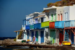 Traditional fishing village. Klima, Milos. Cyclades islands. Greece Royalty Free Stock Images