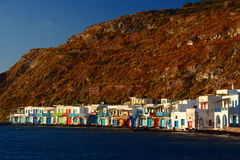 Traditional fishing village. Klima, Milos. Cyclades islands. Greece Royalty Free Stock Photo