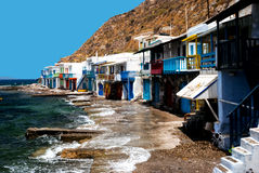 Traditional fishing village on Milos island Royalty Free Stock Photography
