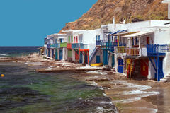 Traditional fishing village on Milos island Stock Images
