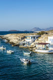 Traditional fishing village on Milos island at Greece stock photos