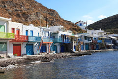 Traditional fishing village on Milos island, Greece Royalty Free Stock Photo