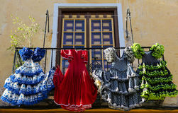 Traditional flamenco dresses at a house in Malaga, Andalusia, Sp Royalty Free Stock Image