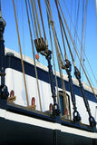 Traditional flat-bottomed. Details of the rigging of the traditional  flat-bottomed Dutch boat Stock Photo