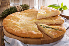 Traditional flatbread with potato filling royalty free stock photography